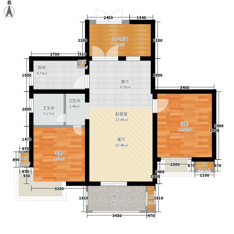 湘江世纪城95.00㎡瑞江苑3#楼02面积9500m户型