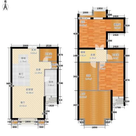 富苑华城3室0厅2卫1厨134.00㎡户型图
