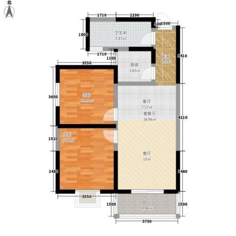 颐和郡2室1厅1卫1厨96.00㎡户型图