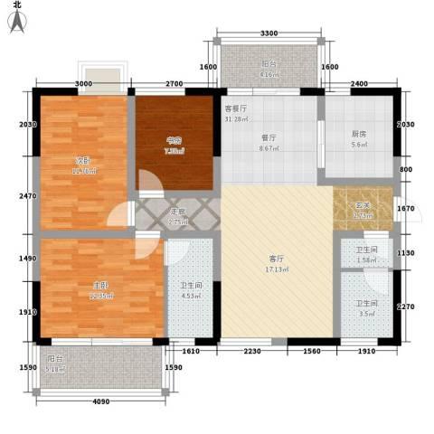 颐和郡3室1厅3卫1厨130.00㎡户型图