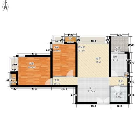 新兴骏景园三期2室0厅1卫1厨80.00㎡户型图