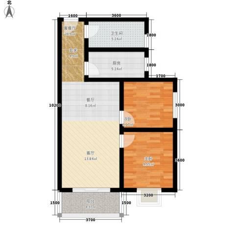 颐和郡2室1厅1卫1厨86.00㎡户型图