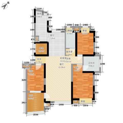 南峰玫瑰园3室0厅2卫1厨98.00㎡户型图