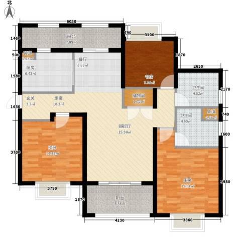 月亮湾3号美颂3室1厅2卫1厨115.00㎡户型图