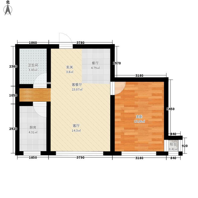 佳和海景58.00㎡户型1户型1室1厅1卫1厨
