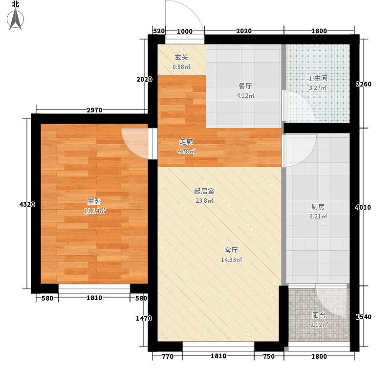水木兰亭60.07㎡户型1室2厅1卫1厨