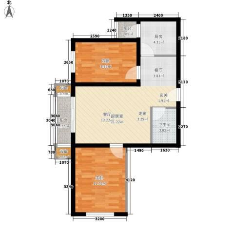 湖岸新城2室0厅1卫1厨61.00㎡户型图
