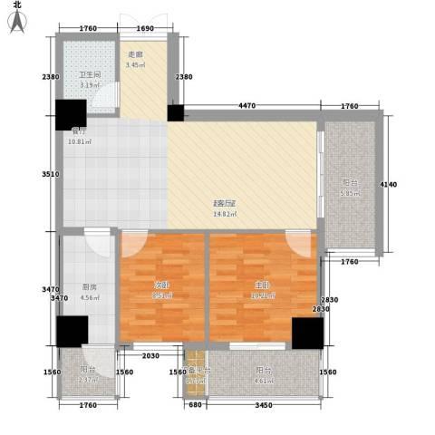 盛世芳洲金座2室0厅1卫1厨80.00㎡户型图