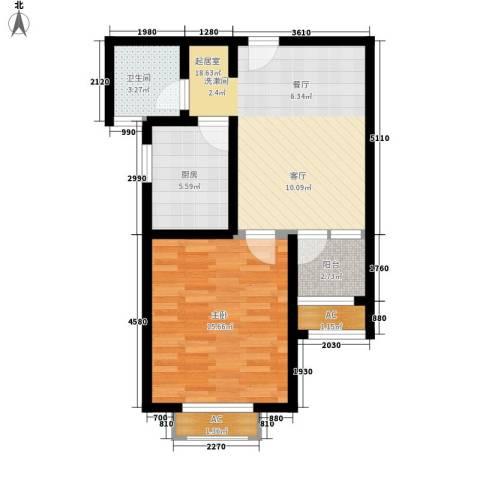 星联邦1室0厅1卫1厨55.00㎡户型图