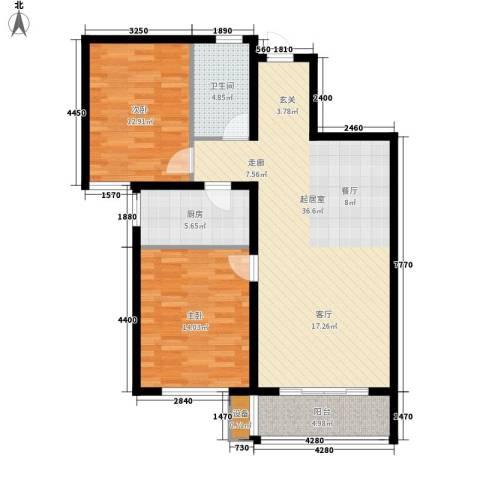 湖岸新城2室0厅1卫1厨88.00㎡户型图