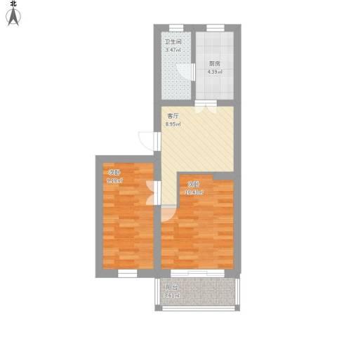 劲顺花园2室1厅1卫1厨61.00㎡户型图