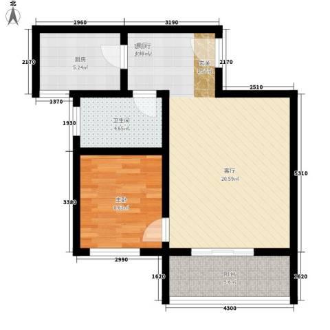 颐和郡1室1厅1卫1厨59.00㎡户型图