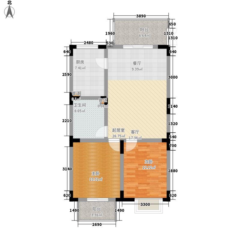 望城花园52.00㎡望城花园2室户型2室