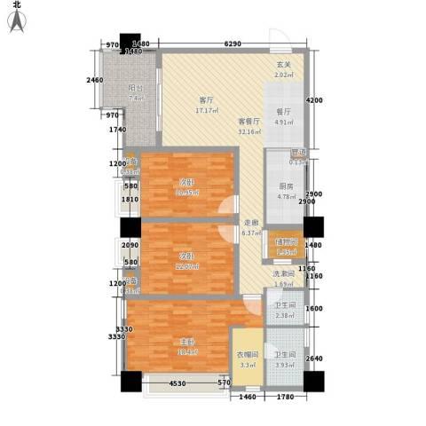 水木年华(渝北)3室1厅2卫1厨105.00㎡户型图