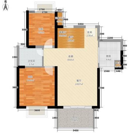 半岛城邦二期2室1厅1卫1厨91.00㎡户型图