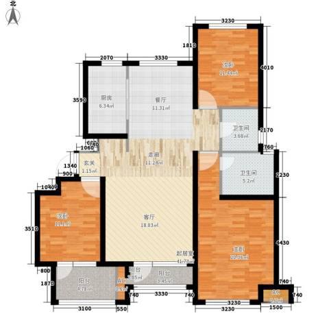 荣盛馨河郦舍3室0厅2卫1厨123.00㎡户型图