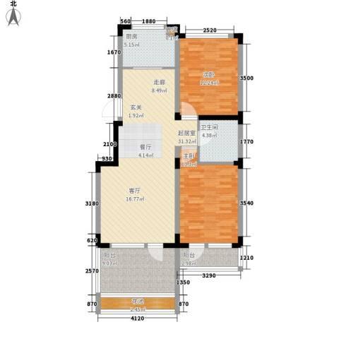 力旺塞歌维亚2室0厅1卫1厨93.00㎡户型图