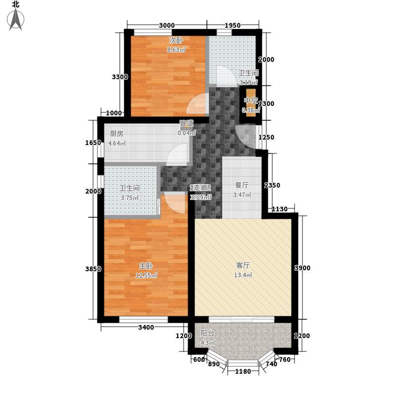 通泰香滨城88.00㎡法式领寓户型2室2厅2卫
