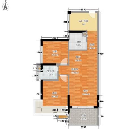 滨江公馆二期2室1厅1卫1厨74.00㎡户型图