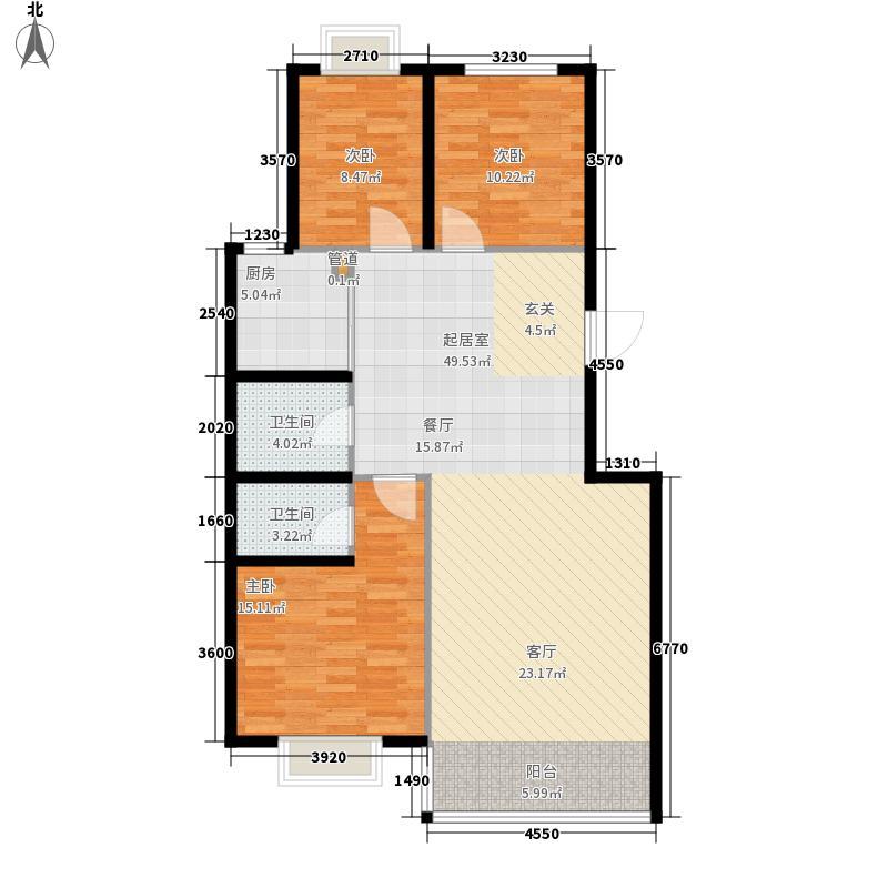 澳华城市花园户型图A2户型 3室2厅2卫1厨