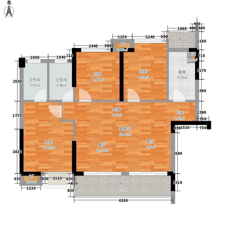 滨江公馆二期85.92㎡滨江公馆二期户型图3栋2单元01户型3室2厅2卫1厨户型3室2厅2卫1厨