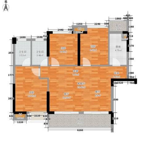 滨江公馆二期3室1厅2卫1厨86.00㎡户型图