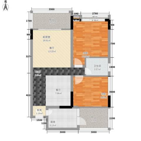 天龙广场2室0厅1卫1厨102.00㎡户型图