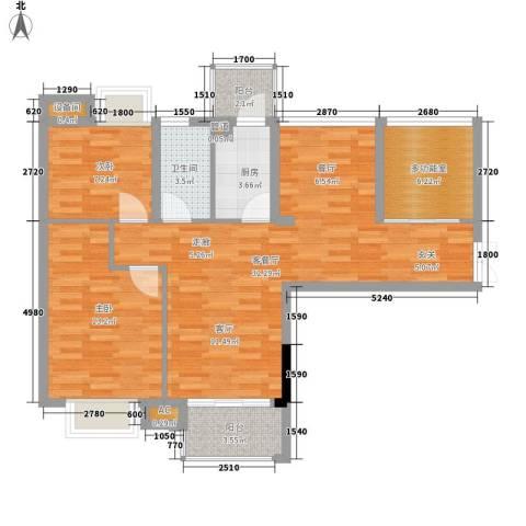 滨江公馆二期2室1厅1卫1厨72.49㎡户型图