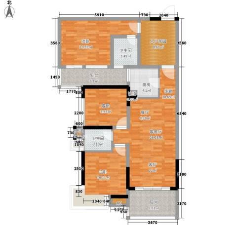 滨江公馆二期3室1厅2卫1厨92.07㎡户型图