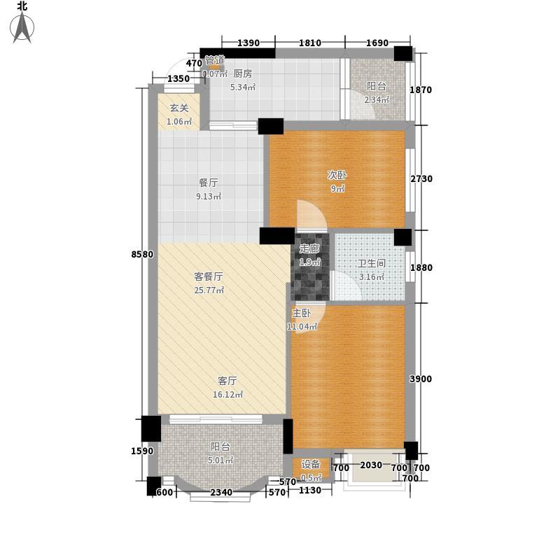 翠岭居78.43㎡户型B2户型3室2厅1卫1厨