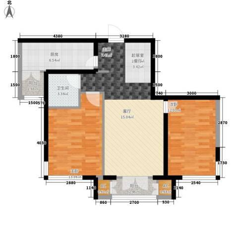 汉滨城市花园2室0厅1卫1厨94.00㎡户型图