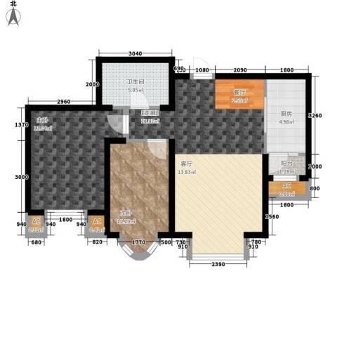 欧美风情小镇2室0厅1卫1厨90.00㎡户型图
