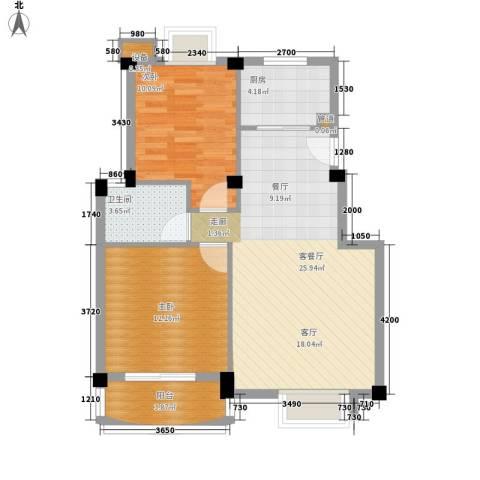 吴宫丽都2室1厅1卫1厨65.00㎡户型图