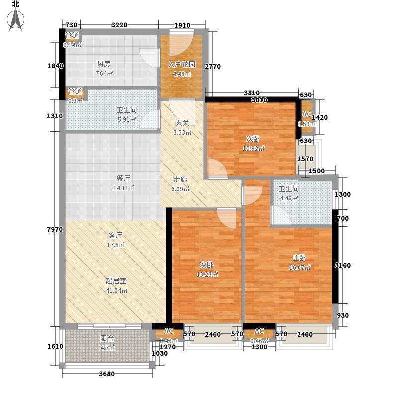 天寿大厦121.22㎡24-33层01单位户型3室2厅2卫1厨