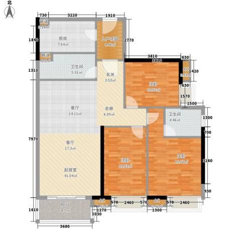 天寿大厦3室0厅2卫1厨121.00㎡户型图