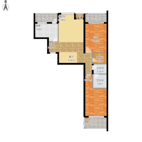 东方新天地花园2室1厅2卫1厨155.00㎡户型图