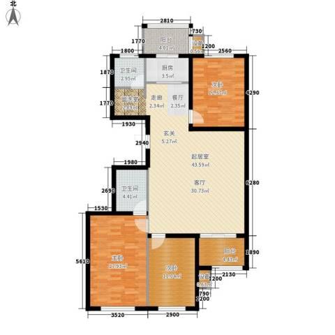 湖岸新城3室0厅2卫1厨117.00㎡户型图