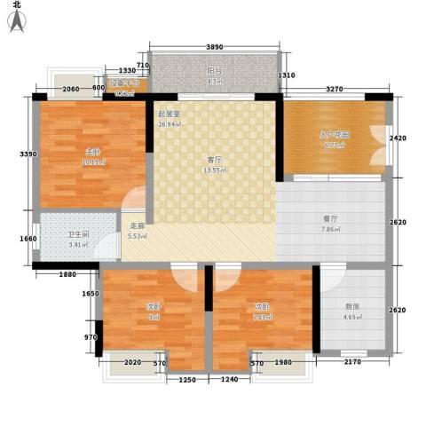 三江希望城3室0厅1卫1厨88.00㎡户型图