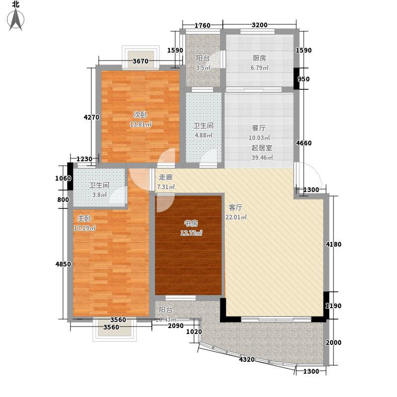 梦之岛花园127.01㎡梦月轩28#A2户型3室2厅2卫1厨