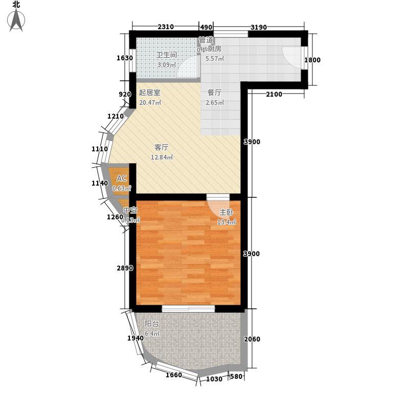 夏都海岸66.58㎡夏都海岸户型图H户型1室1厅1卫户型1室1厅1卫