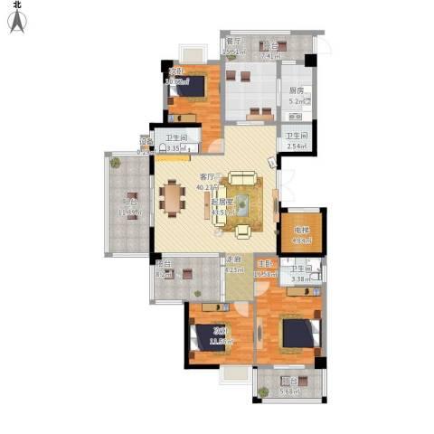 鲁能领秀城3室1厅3卫1厨203.00㎡户型图