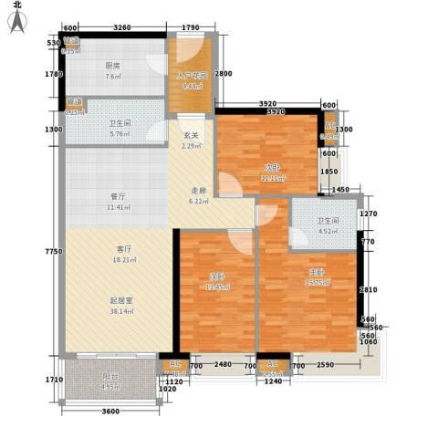天寿大厦3室0厅2卫1厨118.00㎡户型图