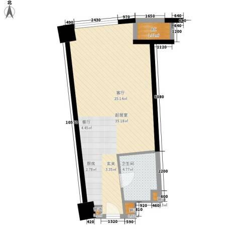 中宇国际中心1卫0厨48.00㎡户型图