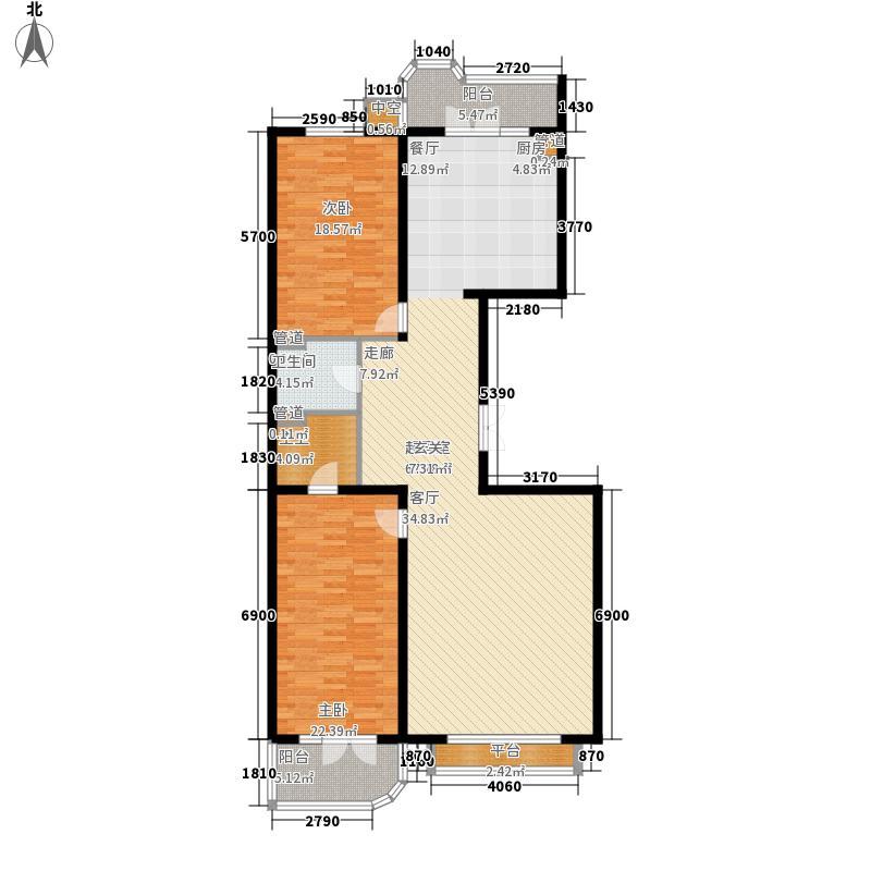 公园丽景两室两厅两卫116.15平方米户型2室2厅2卫1厨