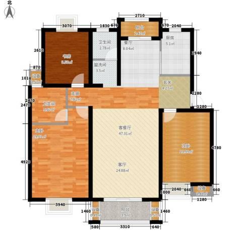 雅韵花园3室1厅2卫1厨126.00㎡户型图