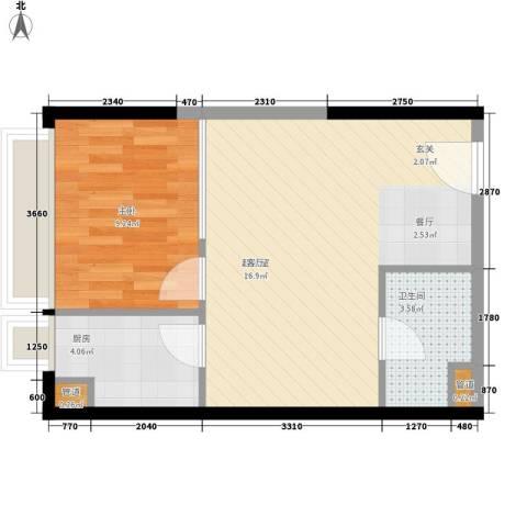 亚太商谷1室0厅1卫1厨38.86㎡户型图