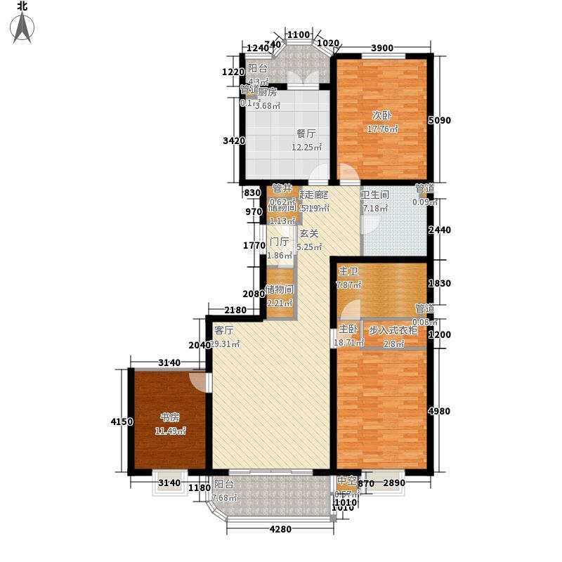 公园丽景三室两厅两卫124.12平方米户型3室2厅2卫1厨