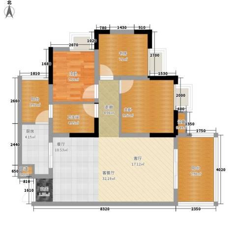 御庭国际公寓3室1厅1卫1厨103.00㎡户型图