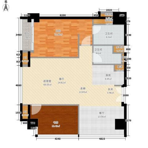 越秀・财富世纪广场2室0厅2卫0厨127.00㎡户型图