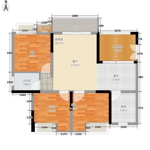 三江希望城3室0厅1卫1厨89.00㎡户型图